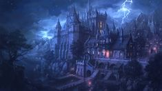 Fantasy Landscape with Castle | Night castle Picture (2d, landscape, castle, fantasy)