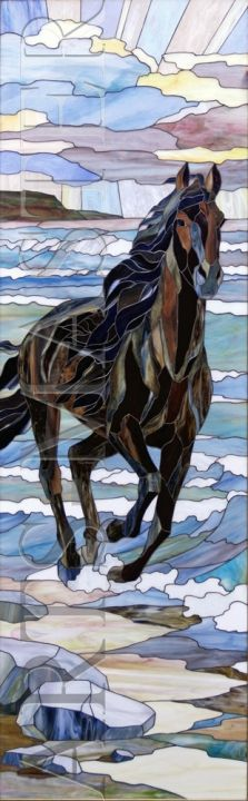 Stained glass horse running