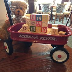 Little red wagon filled with blocks, perfect for a baby shower, birthday or as a gift for baby!