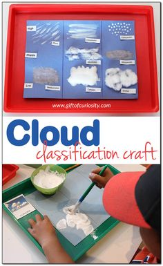 Cloud classification craft for learning about the weather: Kids can use any of three different materials to create different types of clouds, showing both the shape of the clouds as well as the altitude at which each cloud is found. || Gift of Curiosity