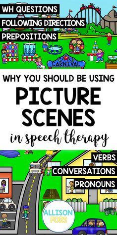 Using picture scenes in speech therapy is a win-win! Kids love to talk about pictures and this activity targets multiple goals: conversations, vocabulary, verbs, WH questions, sentence formulation, following directions, inferences, nouns & pronouns, prepositions, and more. Even reluctant kids find conversation scenes irresistible. They can also be used as writing prompts. Be sure to check out my FREE picture scenes! Grammar Activities, Language Activities, Nouns And Pronouns, Writing Pictures, Teaching English Grammar, Teaching Social Skills, Wh Questions, Free Picture, Speech Therapy Activities