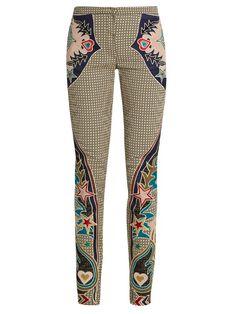 MARY KATRANTZOU Labyrinth cowboy-appliqué skinny-leg trousers. #marykatrantzou #cloth #trousers