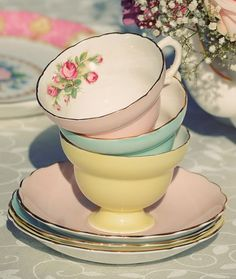 Lovely stacked tea cups