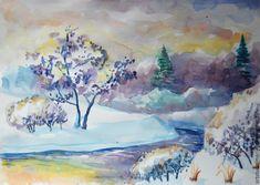 Рисуем зимний пейзаж акварелью. Видео мастер-класс - Ярмарка Мастеров - ручная работа, handmade