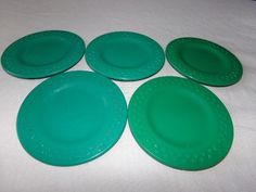 Vintage Fisher Price Play Food Dishes Green Apple Pattern Plates