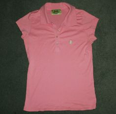 Women's Pink JUICY COUTURE Button Up Collar Short Sleeve Shirt, Size L, GUC! #JuicyCouture #PoloStyleShirt #Casual
