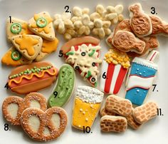 "Snack Attack Cookies {Sugarbelle} -- need a fun cookie for a party or special fun event? How about one of these cute cookies. ""Pretzel"" anyone? ;)"