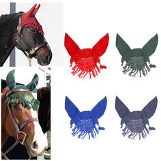 Crochet Cotton Horse Ear Net Mask Anti-fly Bonnet Veils Tassel Edge Outdoor Sports Horse Care Equipment Prevent Flies Insects