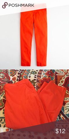 """J Crew Factory Skimmer pant in orange Cotton - TTS. Good condition. Straight leg, 26"""" inseam. True orange! Beautiful for summer. J. Crew Pants Ankle & Cropped"""