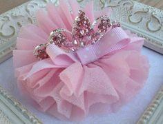 Pink Princess Tiara Hair Clip Birthday by sherbetwithsprinkles, $8.95