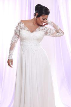 2016 Plus Size Wedding Dresses Long Sleeves Chiffon Floor length Bridal Gowns
