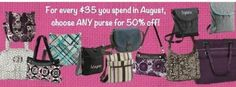 August specials at Thirty One!! Order going in on Aug. 13th so order now!