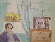 Stanley Kubrick in the bedroom of his New York apartment, painted by his wife Christiane. 1963–4. Watercolour, 280 x 355mm.