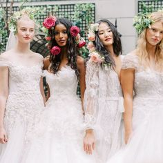 These are the latest Bridal Fashion Week wedding dress trends for fall according to Brides editors. Lazaro Wedding Dress, Wedding Dress Trends, White Wedding Dresses, Bridesmaid Dresses, Wedding Frocks, Blush Gown, Wedding Dress With Pockets, Pink Gowns, Bridal Fashion Week