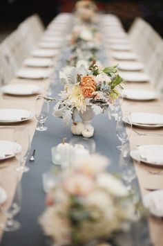 #blue wedding table ... Blue-Grey Wedding Table Setting, would be perfectly accented with spring yellow or blue!