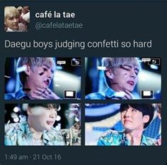 Always Yoongi and the confetti! xD but TaeTae is also so done