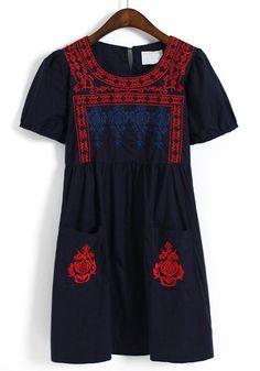 Dark Blue Embroidery Buttons Pockets Cotton Blend Dress