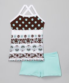 Look at this #zulilyfind! Elliewear Turquoise Polka Dot Crisscross Tank & Shorts - Girls by Elliewear #zulilyfinds