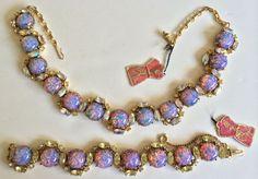 Dazzling Vintage Schiaparelli Necklace & Bracelet Set~Fire Opal Art Glass/ #Schiaparelli