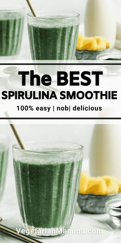 This Spirulina Smoothie is a great choice for a quick and easy breakfast! It is loaded with nutrients and is also vegan and gluten-free! Easy Healthy Smoothie Recipes, Tasty Vegetarian Recipes, Gluten Free Recipes For Breakfast, Dairy Free Recipes, Healthy Drinks, Healthy Snacks, Spirulina Smoothie Recipe, Spirulina Recipes, Avocado Smoothie