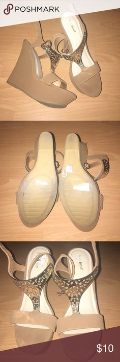 Brown wedges Brand new! Runs small, I am a size 9 and this fits me Bamboo Shoes Wedges