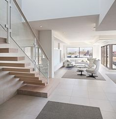 2015 DHDA: Interiors - Apartment/Loft/Condo (first place): Angelini & Associates Architects Stainless Steel Handrail, Brushed Stainless Steel, Wooden Staircases, Modern Staircase, Interior Stairs, Apartment Interior, Living Roon, Large Sheds, Glass Railing