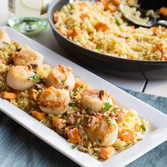 Scallops and Orzo with Sweet Potatoes and Pecans