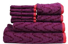 Trident Smart Dobby Cotton 450 GSM 9 Pieces Bath Hand  Wash Cloth Towels Set Purple -- Details can be found by clicking on the image.(This is an Amazon affiliate link and I receive a commission for the sales)