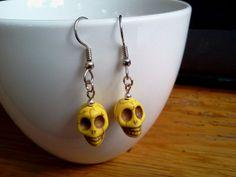 Yellow+Sugar+Skull+Earrings+Howlite+by+RukaDoll+on+Etsy,+$8.95