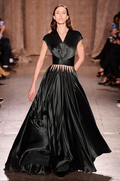 Zac Posen RTW Fall 2015 | black a-line gown with embellishment