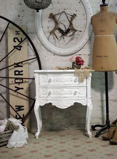 Painted Cottage Chic Shabby White French Night by paintedcottages, $195.00 This fabulous store, in Collingswood, NJ, is not far from where I used to live. My daughter and I have some of their gorgeous hand detailed furniture and accessories...we love this place!!!
