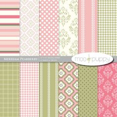 Digital Scrapbooking Paper Pack - Merriam Pearberry BUY 2 GET 1 FREE:. $3.00, via Etsy.