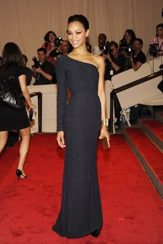 Zoe Saldana went for a minimalist-chic look for the 2010 Met Gala — she wore a one-shoulder Calvin Klein column gown with a sleek, slicked-back hairstyle.
