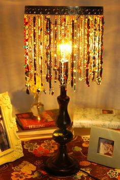 Beaded lampshade that i made next projects pinterest beads this could be a good way to hang your jewelry cathie filian hgtv creative juice on monday mornings aloadofball Image collections
