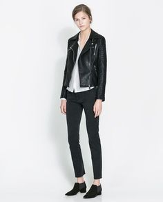 Image 1 of MOTORCYCLE JACKET WITH ZIPS from Zara Otoño Invierno 2015 f35990c5550