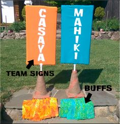 Simple Celebrations Survivor party team signs and the matching buffs! simplecelebrationspartyco.com