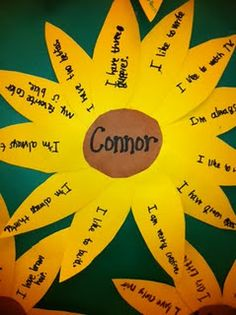 self esteem - students write complete sentences on each petal about what makes them special or proud. could also do a version where other students write complete sentences about the student in the center of the circle.