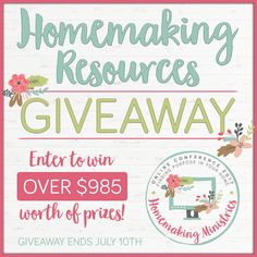 HUGE HOMEMAKING GIVEAWAY! Enter to win almost $1000 of prizes, including planners, books, t-shirts, kitchen stuff and more! Ends midnight (EST) July 10th 2017!