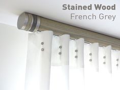 Neat ceiling fix pole - french grey pole with bobbin finial