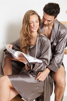 22 Momme 100% Mulberry Luxury Silk Couple Robes. #silk #silkpajamas #hisandher