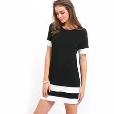 Black and White Casual Mini Dress Shift Dresses, Mini Dresses, Vintage Dresses, Casual Mini Dress, Shorts Negros, Camisa Formal, Straight Dress, New Dress, Ideias Fashion