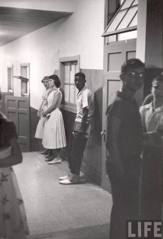 // First day of integration at Clinton High School // Tennessee, 1956 // Robert W. Kelley //