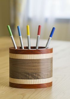Wooden Pencil Cup – Oval Pencil or Pen Holder Handmade from Padauk, Curly Maple and Walnut Wood