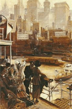 "Jean André Castaigne (French, 1861-1930), ""L'arrivée à New York"" 