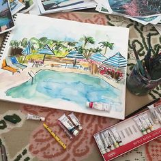 Artwork by Laura Dro follow me on Instagram @lauradrodesigns  #poolside #slimaarons #chic #palmbeach #illustration #design #palmsprings #lauradro #newcollection #shopsmall #sketchbook #sketch #pattern #textiledesign #design