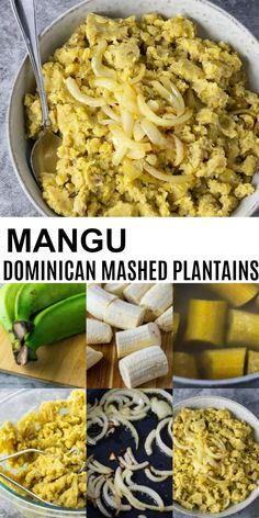 Tasty Mangu recipe - Dominican mashed plantains are so easy to prepare, boiled green plantains, mashed and seasoned with sauteed onions, and lime juice. This classic Dominican mashed plantain dish is a great side dish Vegetarian Recipes, Cooking Recipes, Healthy Recipes, Healthy Breakfasts, Healthy Snacks, Snacks Kids, Amish Recipes, Dutch Recipes, Protein Snacks