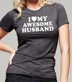 Hochzeit Geschenk I Love My Awesome Mann T-shirt Womens Tshirt Fathers Day Frau Geschenk Valentinstag Tag Cool Shirt T shirt