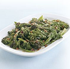 Possible Thanksgiving side dish? Seared Broccolini with Bacon and Parmigiano from Fine Cooking