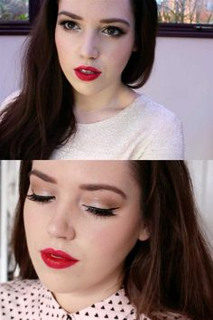 Red lips and feline flick eyeliner is a tired-and-tested classic look. Primania