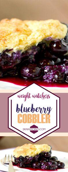 Blueberry Cobbler 7 sp each Blueberry Desserts, Köstliche Desserts, Healthy Desserts, Delicious Desserts, Dessert Recipes, Yummy Food, Healthy Blueberry Cobbler, Healthy Recipes, Weight Watcher Desserts